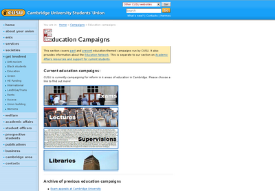CUSU Education Campaigns Website